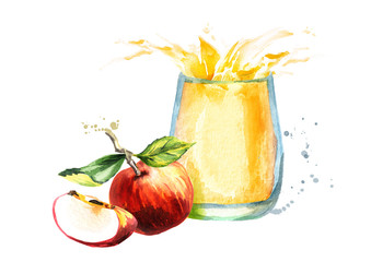 Apple juice. Watercolor Hand drawn illustration