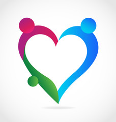Family people loving heart vector icon