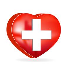 Heart shape with medical cross vector