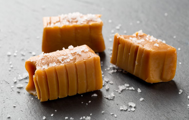 Hand made caramel toffee pieces with sea salt
