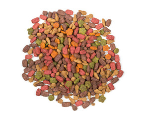 Heap of dry pet food top view