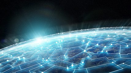 Connections system and datas exchanges on planet Earth 3D rendering