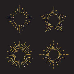 Sunburst gold glitter hand drawn vector set. Part six.
