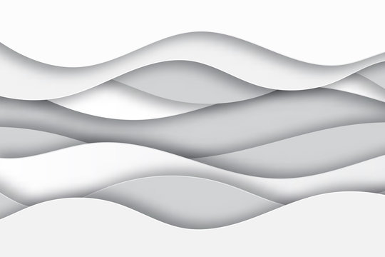 Modern paper art cartoon abstract white and gray  water waves. Realistic trendy craft style. Origami design template. Realistic trendy craft style.