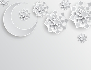 Paper graphic of islamic crescent moon, star shape. Islamic decoration. Ramadan Kareem - glorious month of Muslim year. Modern 3d paper cut concept