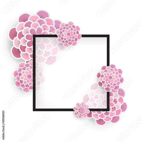 Elegant Floral Background With 3d Paper Flowers And Place For Text Spring Greeting Card