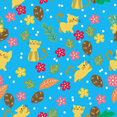 Aluminium Prints Cats Cute Cat seamless pattern with flower on colorful background Vector illustration.Cartoon style