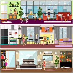 Family characters at home vector flat poster set
