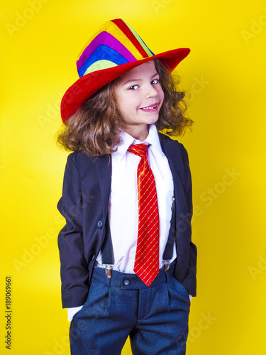 6c3b8c24446 Portrait of a smiling little boy in a big American hat and shirt. Happy  child.