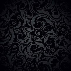 Vector black seamless floral pattern.
