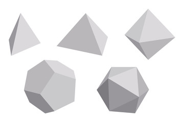 Platonic solids with gray faces. Regular, convex polyhedrons in Euclidean geometry. Tetrahedron, cube, octahedron, dodecahedron and icosahedron. Isolated illustration on white background.Vector.