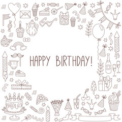 Birthday card template line doodles collection vector