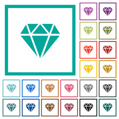 Diamond flat color icons with quadrant frames