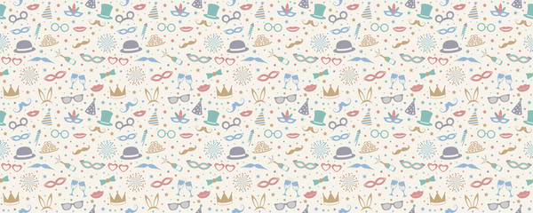 Party background - seamless pattern with funny costumes. Vector.