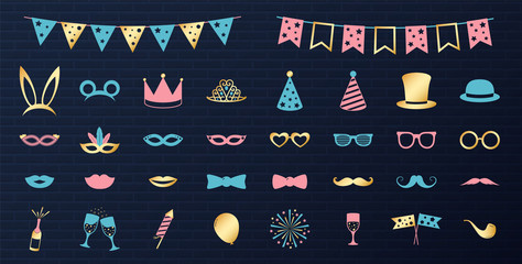 Party icons - carnival, photo booth, birthday. Vector.