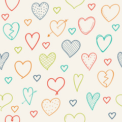 Wrapping paper with cute hand drawn hearts - Valentine's Day, Mother's Day and Women's Day. Vector.