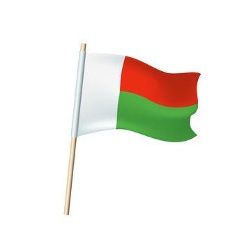 Madagascar flag on white background