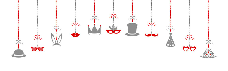 Funny costumes for carnival, photo booth and birthday party. Panoramic header. Vector.
