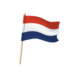Netherlands flag on white background