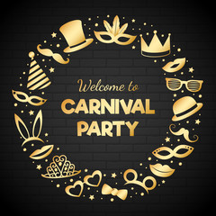 Carnival Party - card with funny costumes. Vector.