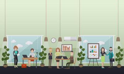 Office life concept vector flat illustration