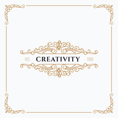 Monogram creative card template with beautiful flourishes ornament elements. Elegant design for corporate identity, logo, invitation. Design of background products.
