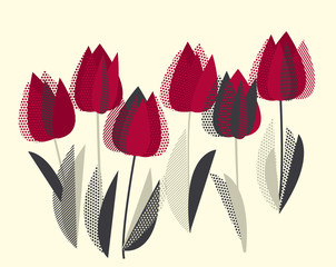 Decorative tulip flower vector illustration in retro colors. red and gray vintage palette pattern.