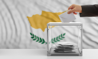 Cyprus elections. Voter on Cyprus waving flag background. 3d illustration
