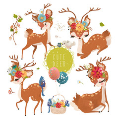 Cute baby animal deer with floral wreath, tied bow, bird and a basket with balloons and flowers