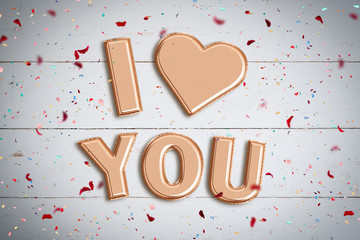 "Luftballons formen Botschaft ""I love you"""