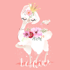 Beautiful and cute llama, alpaca in crown, flowers and bird. Beautiful llama baby animal princess or queen