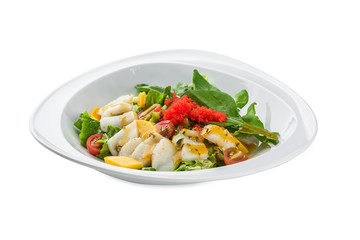 Seafood salad with scallop isolated on white