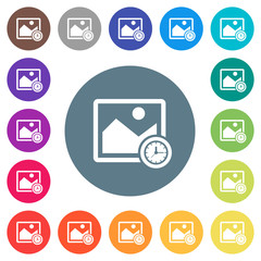 Image time flat white icons on round color backgrounds