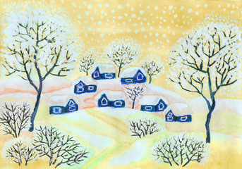 Winter landscape in yellow colours, painting