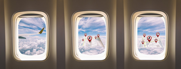 three  windows airplane with map and location travel concept