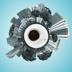 view circle of city scape with coffee cup