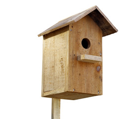 Wooden birdhouse isolated on white