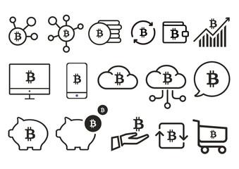Bitcoins icons set