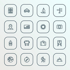 Journey icons line style set with direction, luggage, credit and other tram 