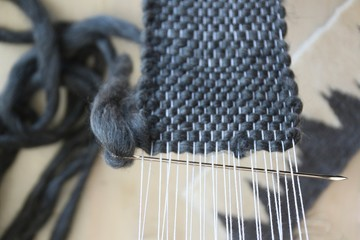 Close-up of wool weaving