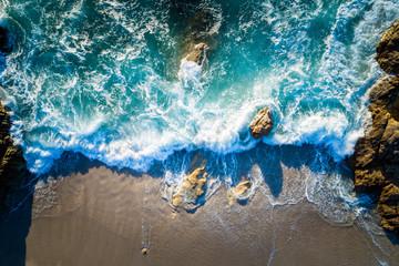 Aerial view of beach near Lumio, Corsica, France