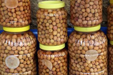 homemade green olives in jars from Yesilyurt Village, Canakkale