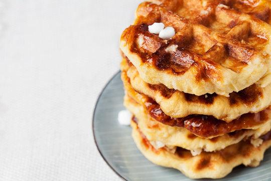 Homemade Belgian Liege or sugar waffles