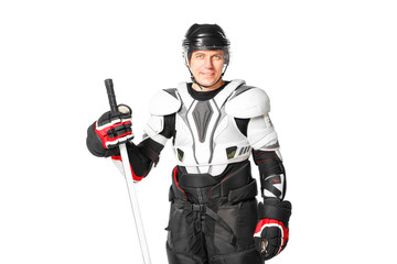 Smiling hockey player in safety gear isolated on white background.