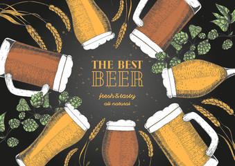 Colored beer menu design template. Engraved illustration with barley, hops and beer glasses. Brewery frame concept. Hand drawn vector illustration for beer restaurant