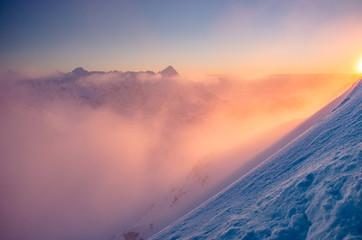 Aluminium Prints Mountains Beautiful mountain sunset panorama, cloudy Tatra mountains, Poland