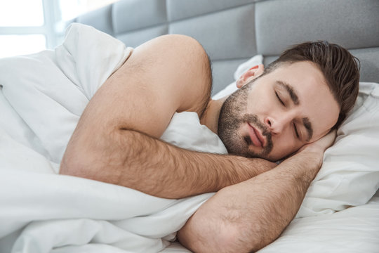 Bachelor man daily routine single lifestyle morning concept sleep close-up