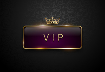 Vip royal purple label with golden frame and crown on black floral pattern background. Dark premium template. Vector illustration.