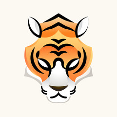 Tiger minimal head face logo for design icon and mascot, vector illustration