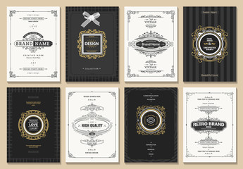 Monogram creative cards template with beautiful flourishes ornament elements. Elegant design for corporate identity, invitation. Design of background products.